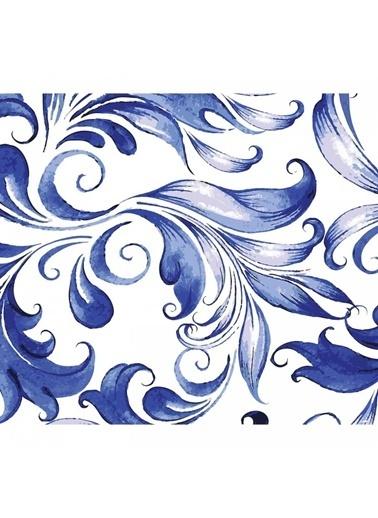 Artikel Mavi Yapraklar Desenli Masa Örtüsü 140X160Cm Renkli